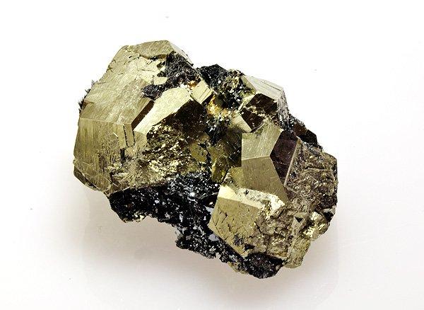 原石<br>ヘマタイト(赤鉄鉱)を伴うパイライト(黄鉄鉱)<br>イタリア・リオマリーナ・エルバ島産