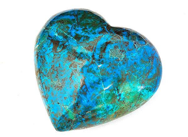 原石<br>クリソコラのハートの原石<br>ペルー産