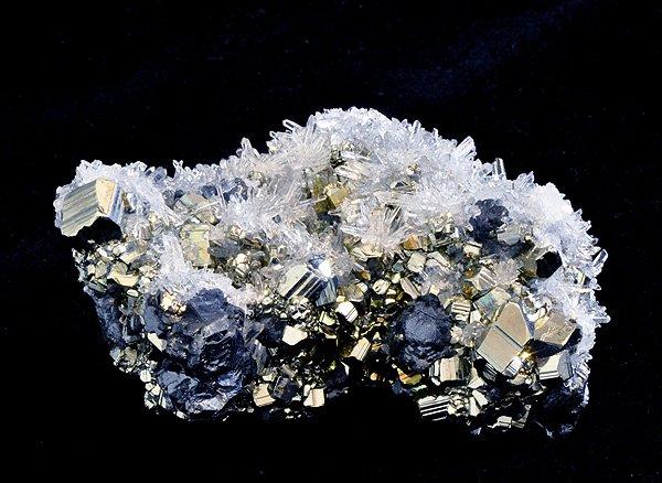 原石<br>パイライト(黄鉄鉱)&クォーツ(水晶)&ガレーナ(方鉛鉱)の結晶<br>ペルー・リベルタ産