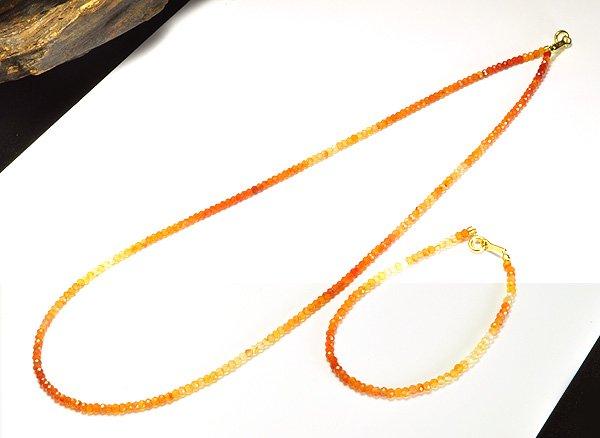 ネックレス&ブレスレット<br>宝石質のグラデーション・カーネリアンネックレスセット