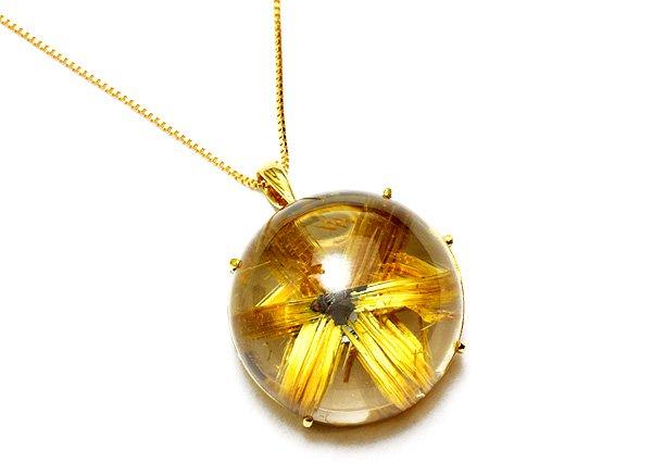 高品質グレード!!プレミア級のネックレスです!!<br>ゴールドタイチン太陽ルチルクォーツSA すべて18金ゴールド使用<BR>ブラジル産
